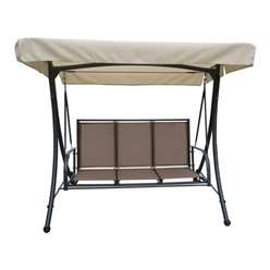 3 Seater -Taupe Hammock - Anthracite Frame & Textylene with Sahara Canope - Free Next Working Day Delivery (Mon-Fri)e