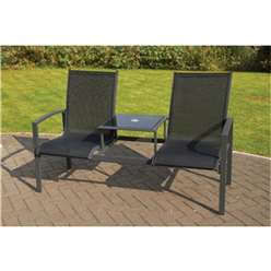 2 Seater - Black Companion Seat - Anthracite Frame & Textylene  - Free Next Working Day Delivery (Mon-Fri)