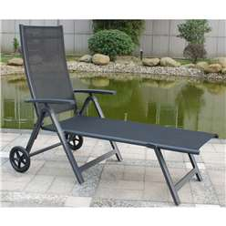 Black Wheeled Sun Lounger - Anthracite Frame & Textylene  - Free Next Working Day Delivery (Mon-Fri)