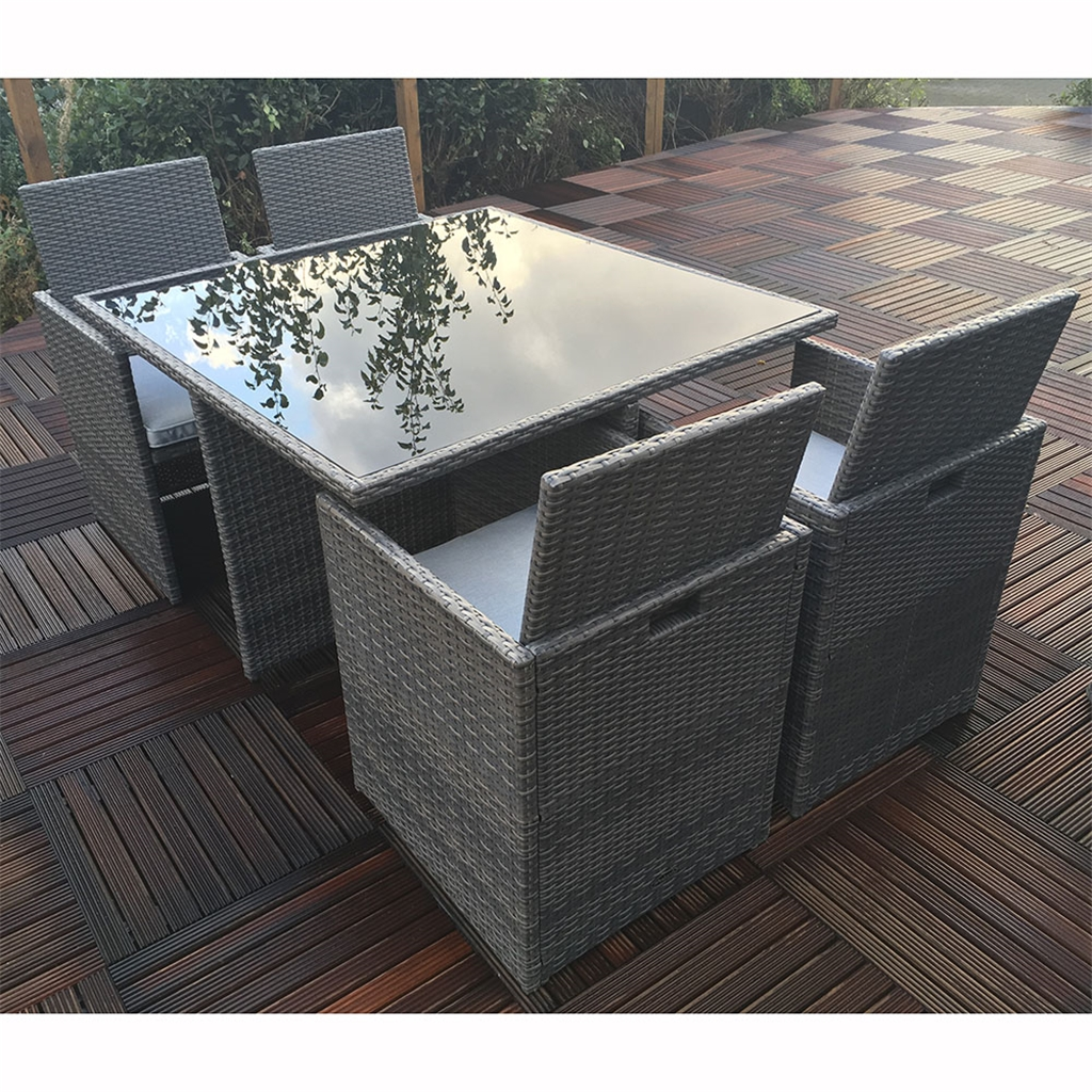 9 Seater MARLOW Cube Set - 9cm Cube Table with Black Glass & 9 Cube  Chairs KD incl. Seat cushion